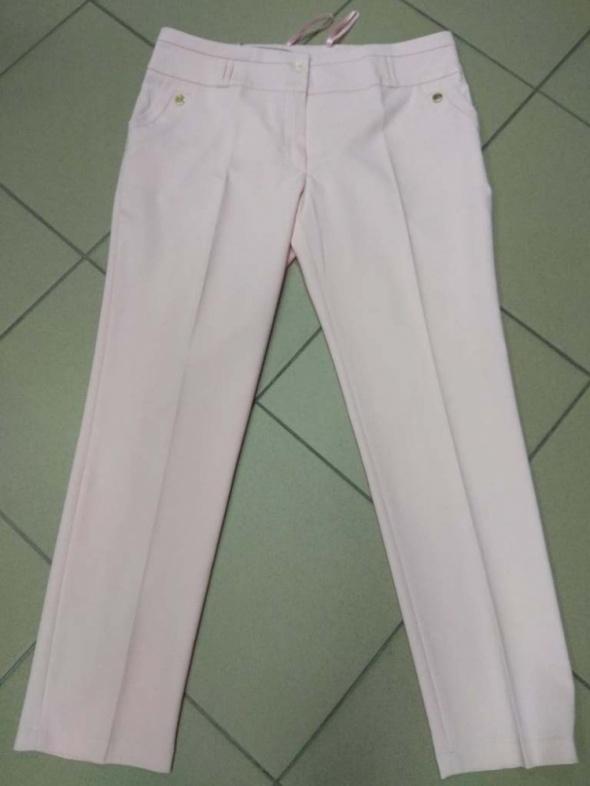 Spodnie damskie cygaretki pastelowy róż kant kantka BB 42 XL...