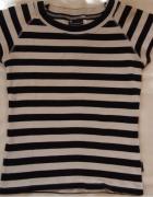 T shirt z krótkim rękawem w paski czarno białe