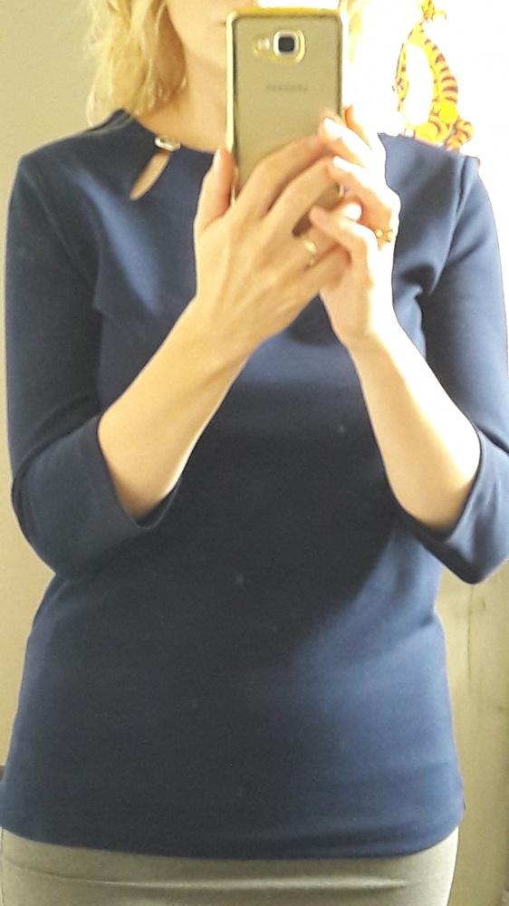 Granatowa bluzka z rękawem 3 4...