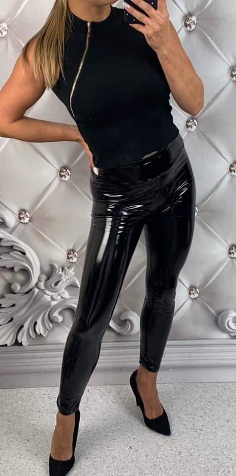 Nowe leginsy spodnie eko skóra lakierowane S M L XL