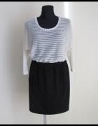 Mini zestaw rozmiar 40 L bluzka ecru oraz czarna spódnica...