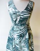 Sukienka H&M XS 34 Liście Wzory Elegancka Listki...