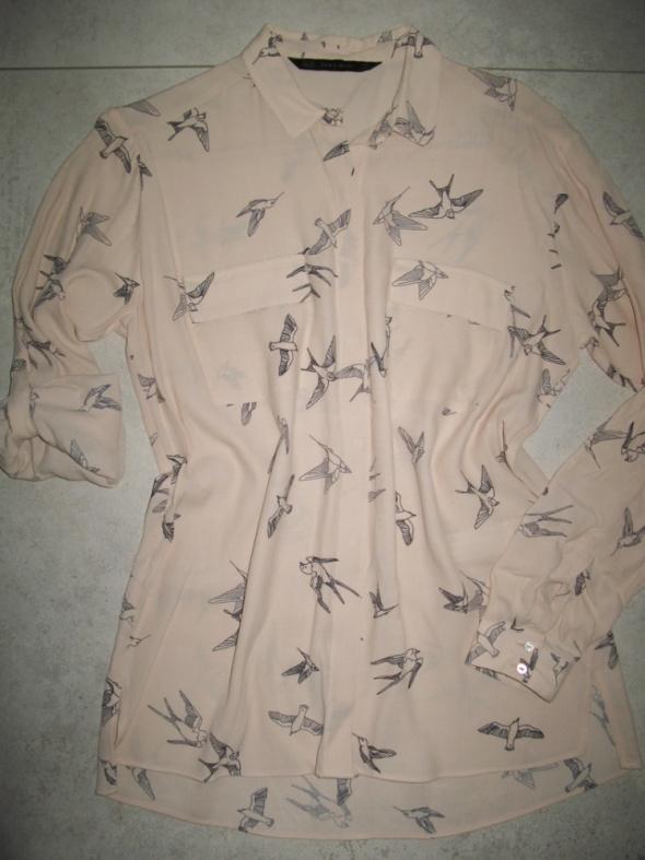 ZARA koszula damska blady róż w ptaszki roz 34