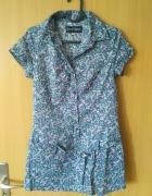 Dłuższa bluzka z paskiem na biodrach w kwiatki rozmiar XS...