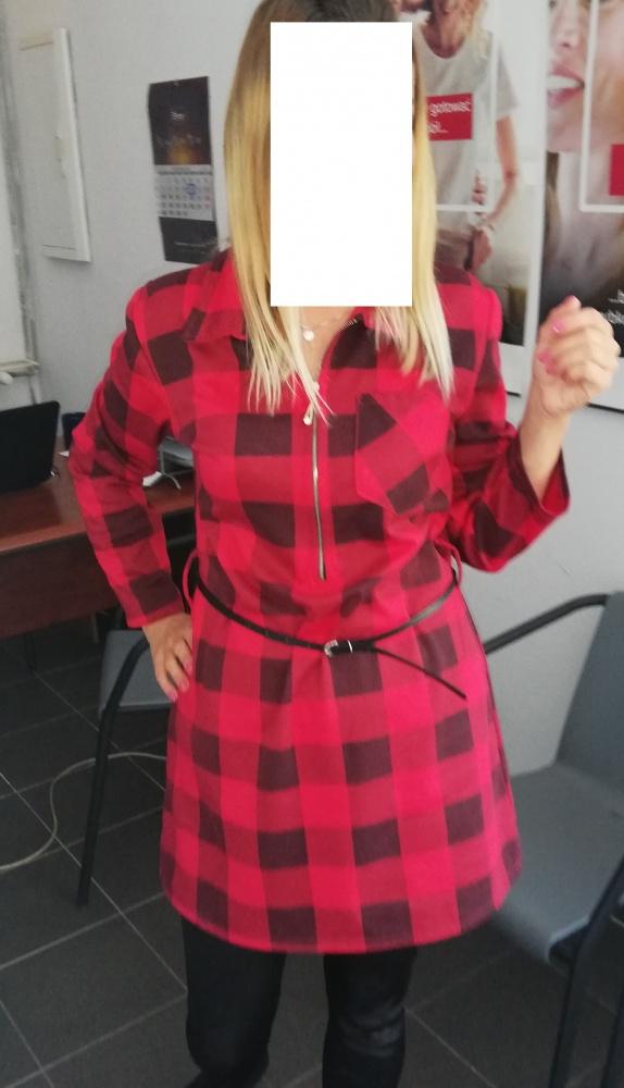 Czerwona Tunka Sukienka w krate...