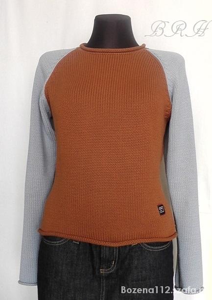 sweter damski brązowo niebieski