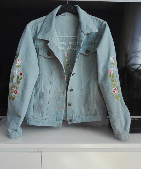 jeansowa kurtka haftowana hafty kwiaty hit jesień M 38