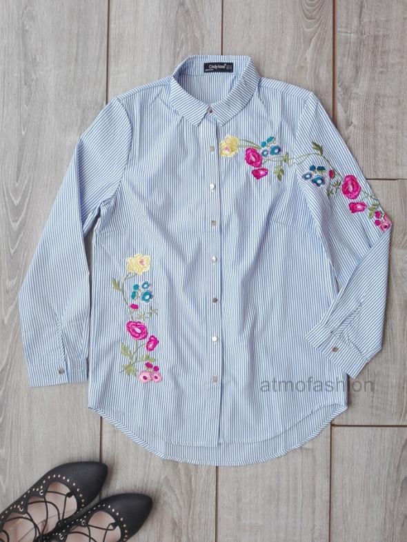 haftowana hafty koszula w paski kwiaty jesień M 38