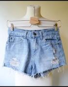Spodenki Dziury Jeans Dzins XS 34 Gina Tricot Przetarcia...