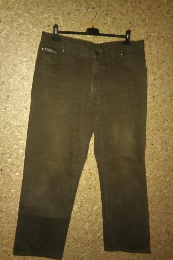 Zielone khaki męskie jeansy wysoki stan 46