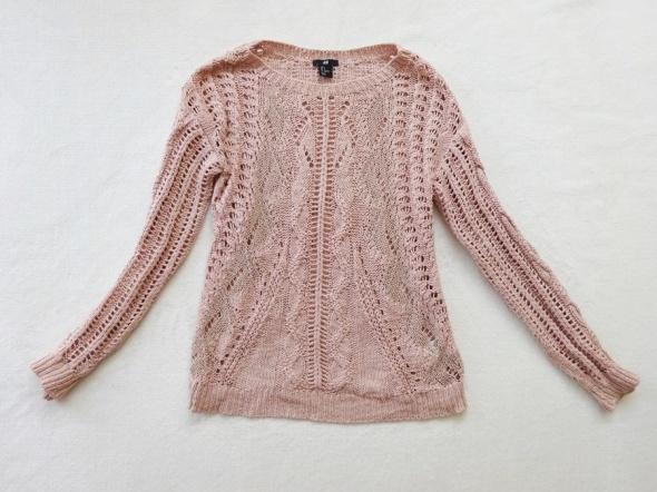 H&M pudrowy róż różowy ażurowy sweter 36 S