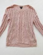 H&M pudrowy róż różowy ażurowy sweter 36 S...