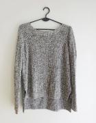 H&M asymetryczny gruby biało czarny ciepły szary sweter 38 M...