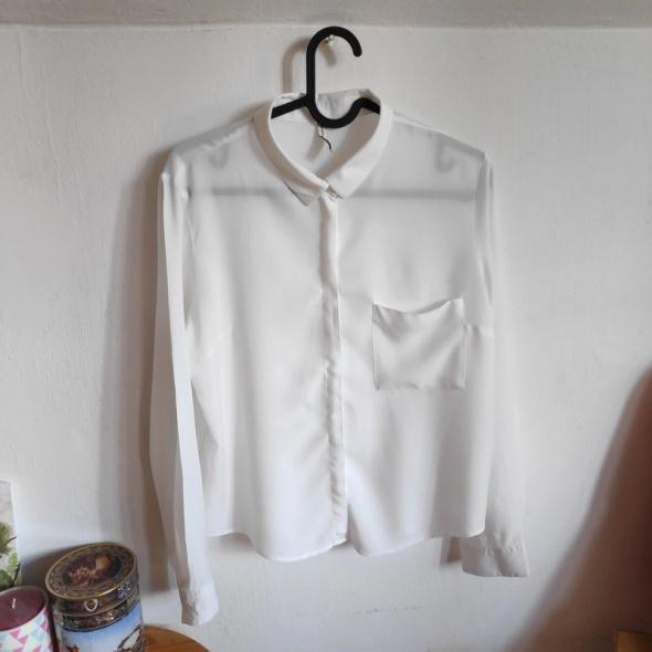 Krótka biała koszula mgiełka prześwitująca