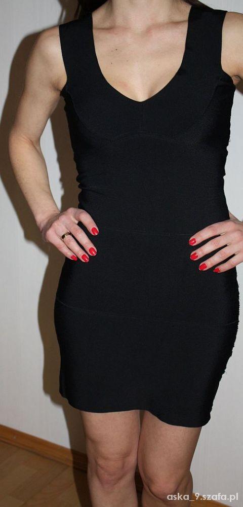 czarna sukienka bandażowa bandage
