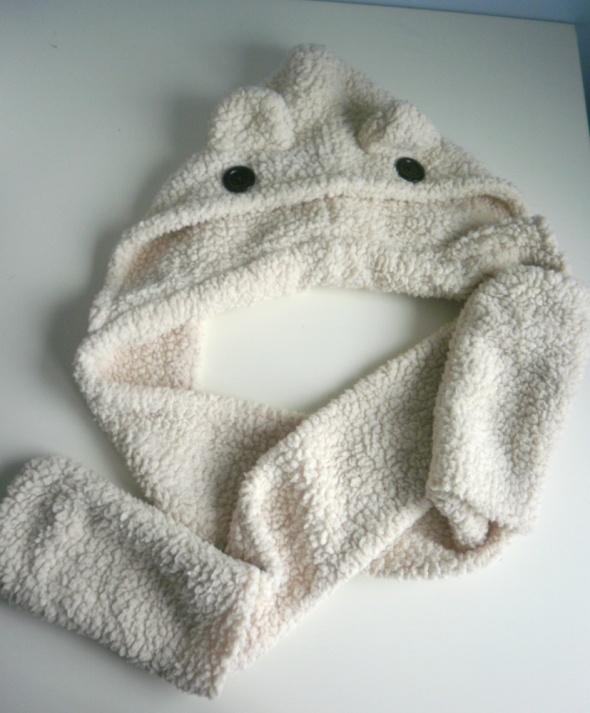 asos miś 3w1 czapka szalik rękawiczki włochacz