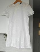 Zara nowa biała lniana sukienka hafty len haftowana...