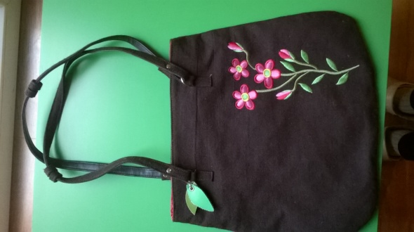 Torebka torba ala filc kwiat listki