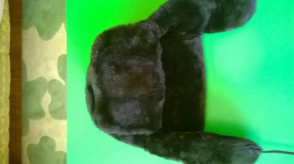 Czapka uszatka czarne futerko