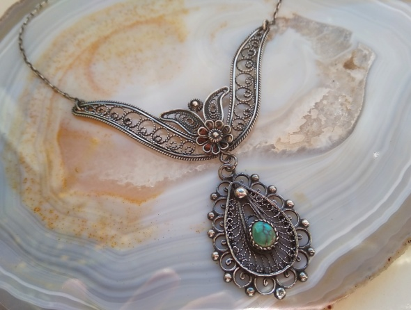 Stary srebrny naszyjnik filigran turkus