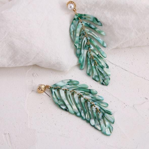 Nowe długie kolczyki wiszące liście palmy zielone masa perełka