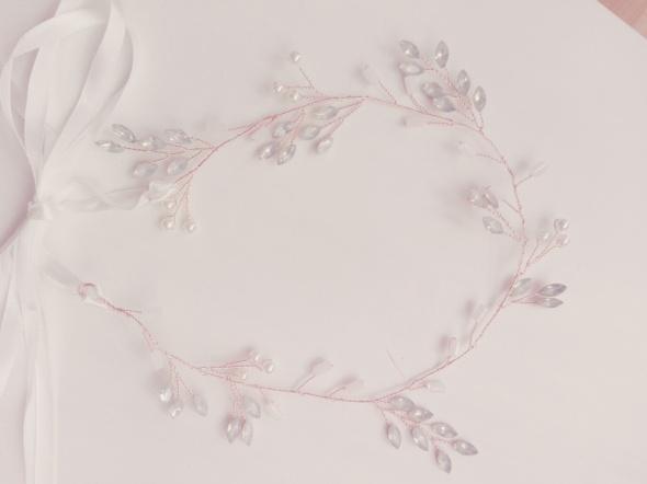 Opaska ślubna ślub wianek kryształki różowe złoto rose gold