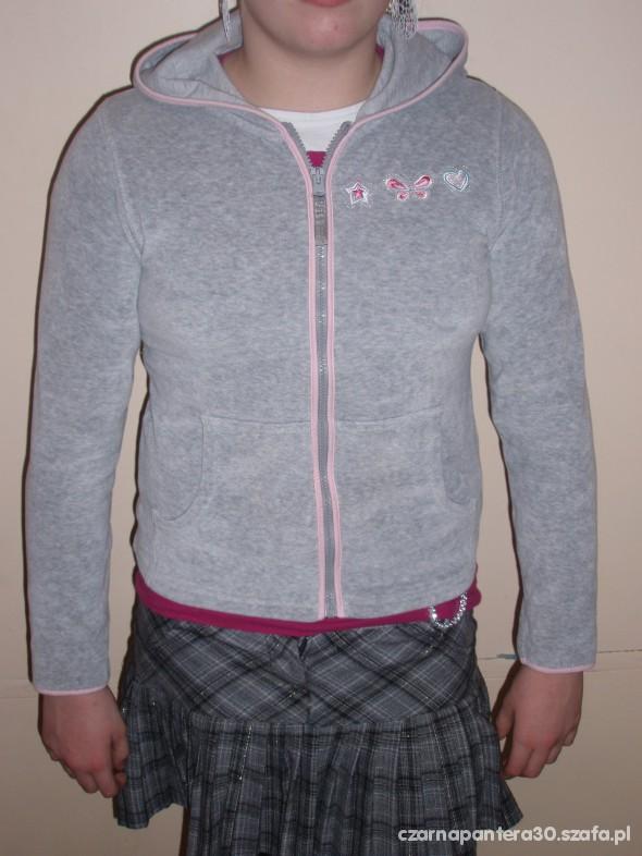 2 Sliczne z weluru i baweły szare bluzy 164 wzrost