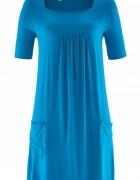 Niebieska shirtowa sukienka luźna wygodna 40 lub 42...