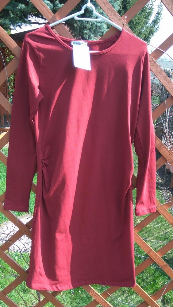 Nowa bordowa sukienka ciązowa z długim rękawem M