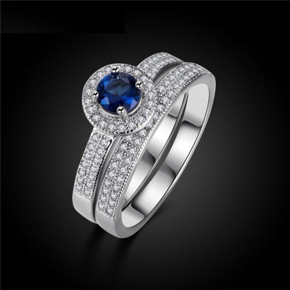 Nowe pierścionki dwa komplet zestaw srebrny kolor posrebrzane niebieska cyrkonia