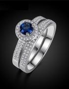 Nowe pierścionki dwa komplet zestaw srebrny kolor posrebrzane n...
