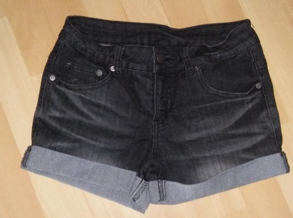 Czarne przecierane spodenki jeansowe krótkie S...