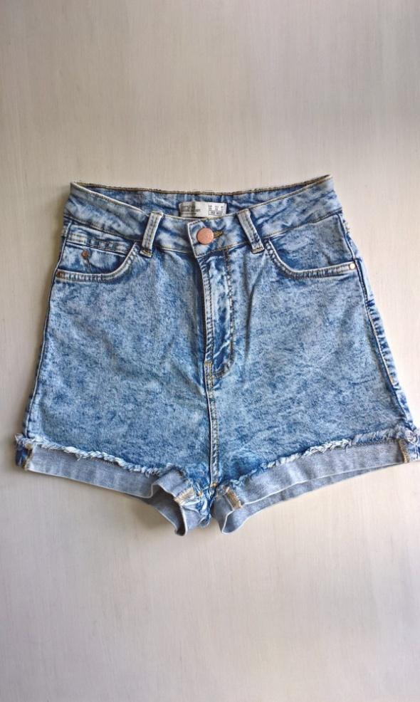 Jeansowe szorty z wysokim stanem Bershka XS S...