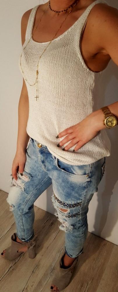 Top Bluzka Wełniany Biały H&M r 34 XS