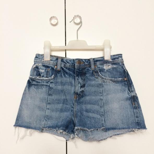 Zara denim shorts jeansowe szorty poszarpane przetarte must have 36