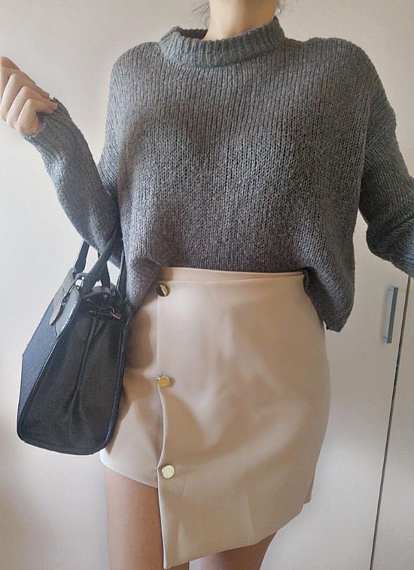Asymetyczna Spódnica damska zip nude M L