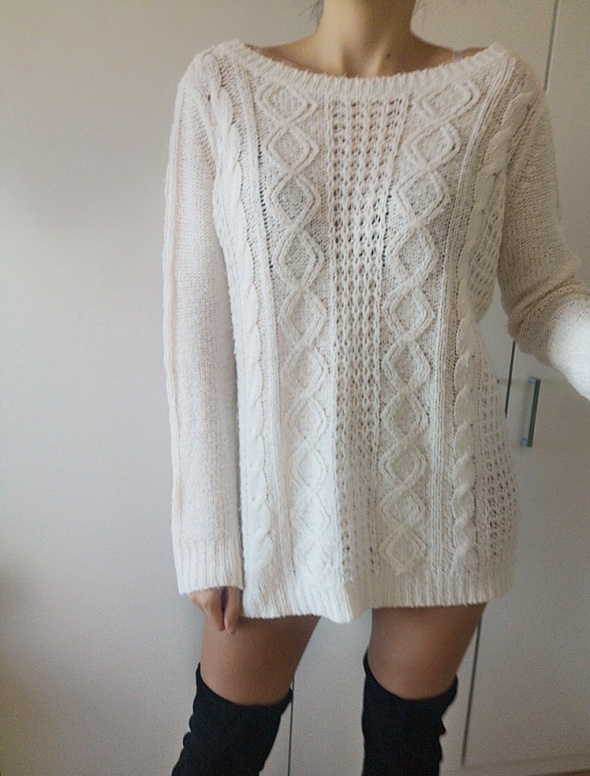 Reserved Sweter damski pleciony biały L 40