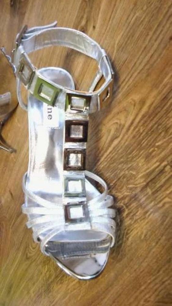 Srebrne szpilki sandały 37 DUNE