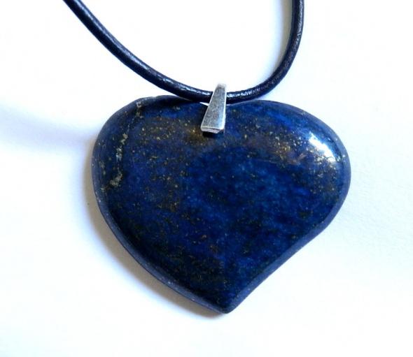 Lapis lazuli i srebro duże serce wisiorek