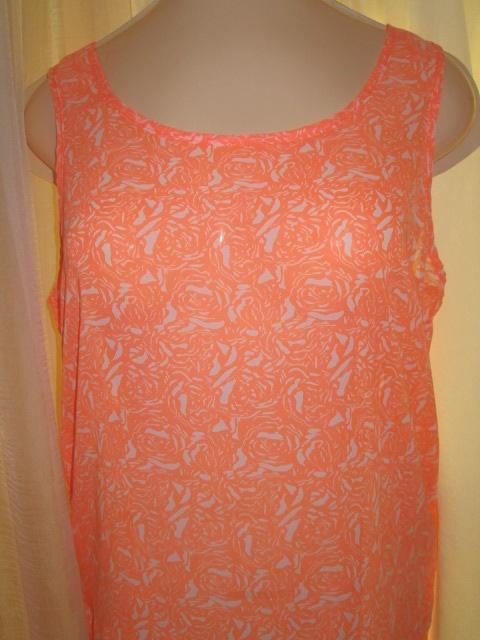 Top bluzka asymetryczna powiewna lato neon wzór kwiaty S