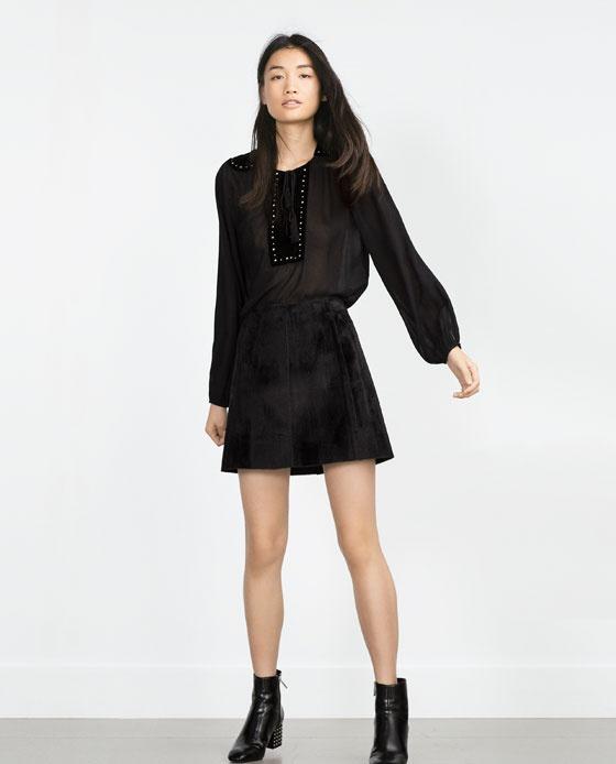 Zara nowa spódniczka imitacja futra czarna mini