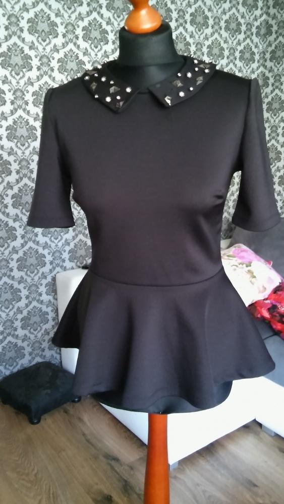 Czarna bluzka z baskinką S M