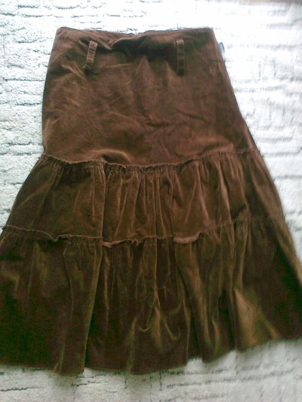 brązowa spódnica falbanki aksamit