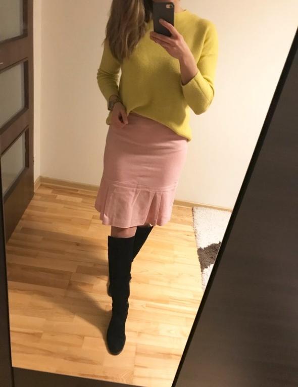 Coast pastelowa spódnica zakładki elegancka midi M L