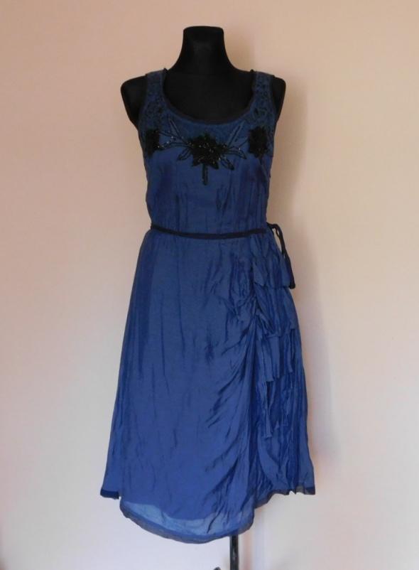 Designer Remix granatowa sukienka jedwab 38...