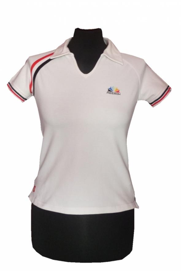 Reebok sportowa bluzka z kołnierzykiem polo sport paski UK jakość