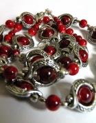 Biżuteria w stylu retro czerwień i srebro...