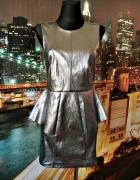 h&m sukienka srebrna baskinka blogerska wyjściowa hit 36 S...