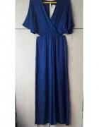 Niebieski electric blue elegancki kombinezon z wycięciami impre...