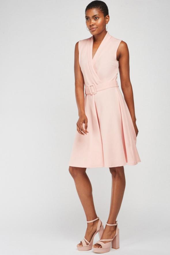 Nowa sukienka Mohito M 38 jasnoróżowa różowa rozkloszowana pase...